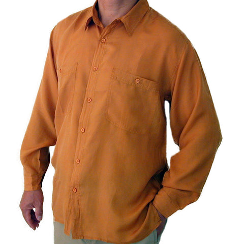 Men's Long Sleeve 100% Silk Shirt (Mustard) S,M,L,XL