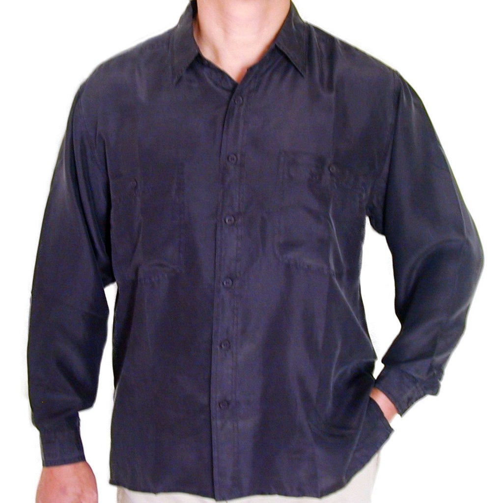 Men's Long Sleeve 100% Silk Shirt (Black) S,M,L