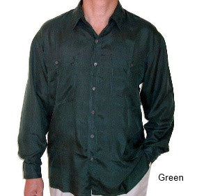 Men's Long Sleeve 100% Silk Shirt (Green) S,M,L,XL