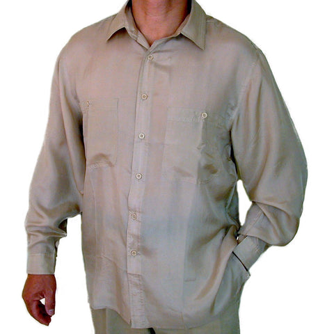 Men's Long Sleeve 100% Silk Shirt (Beige) S,M,L