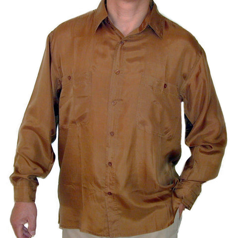 Men's Long Sleeve 100% Silk Shirt (Gold) S,M,L,XL
