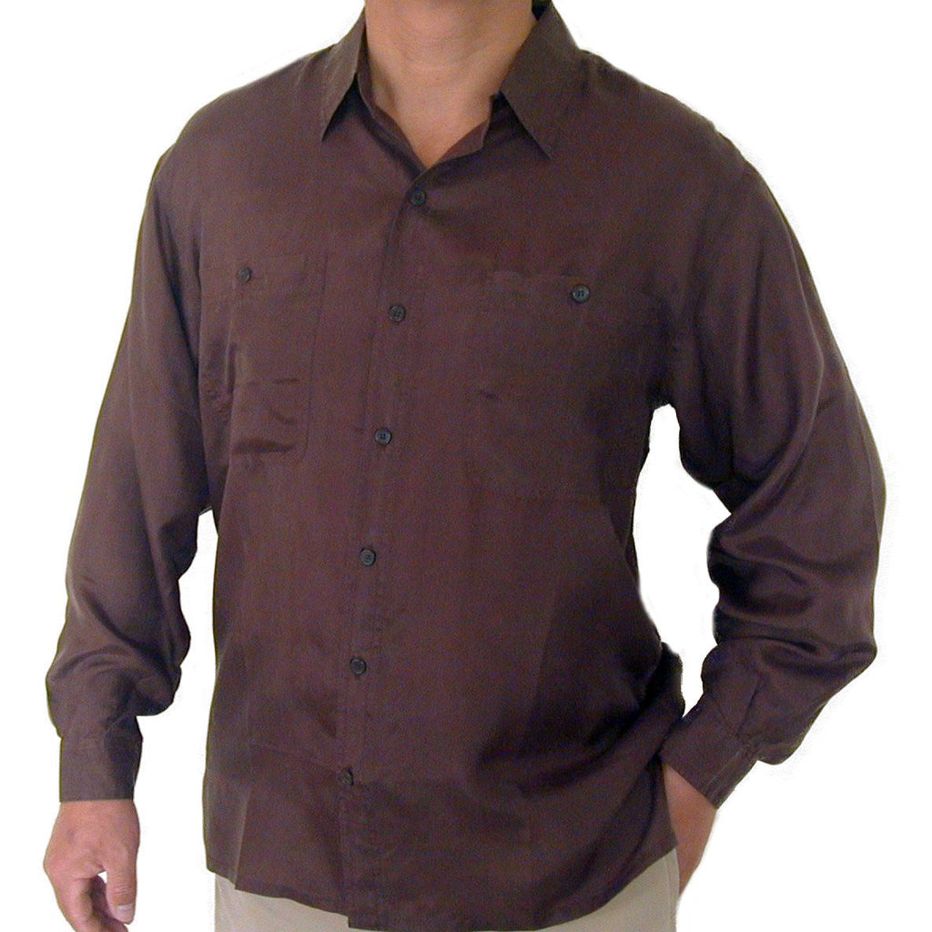 Men's Long Sleeve 100% Silk Shirt (Brown) S,M,L