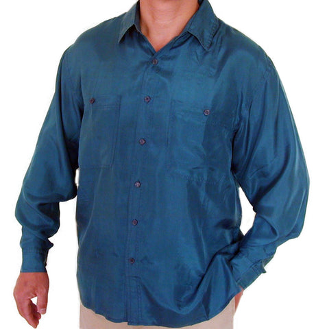 Men's Long Sleeve 100% Silk Shirt (Teal) S,M,L