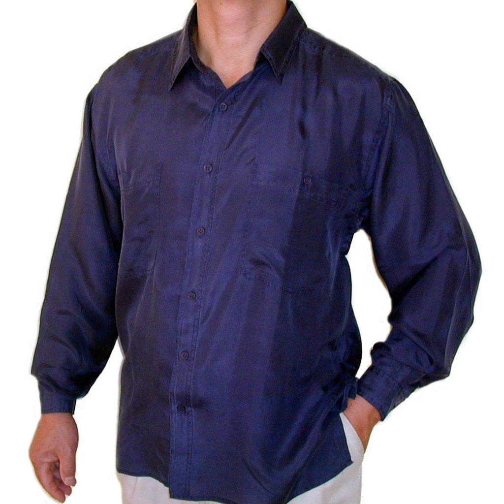Men's Long Sleeve 100% Silk Shirt (Navy) S,M,L,XL