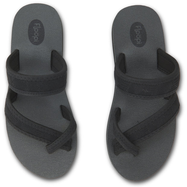Womens EVA Comfort Toe Thong Cross Cross Slide (Black)