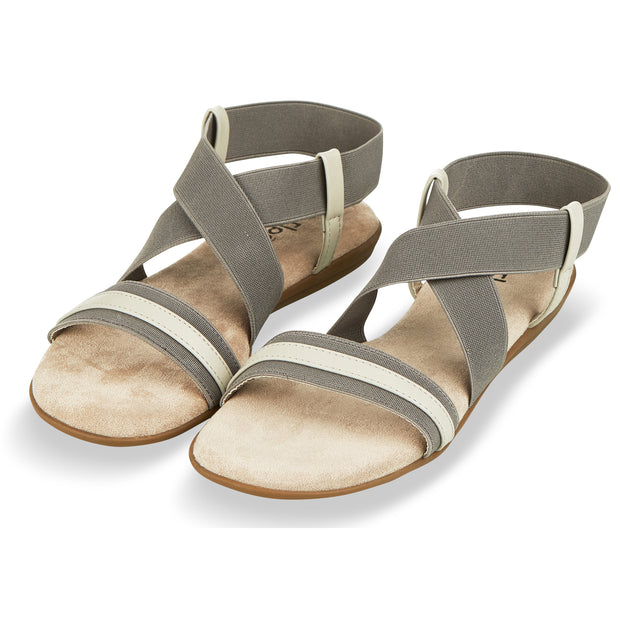 Womens Open Toe Elastic Ankle Strap Gladiator Flat Sandals (Grey)