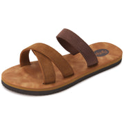 Womens Eva Comfort Criss Cross Sandals (Tan Brown)