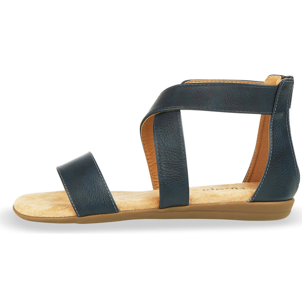 Womens Criss Cross Gladiator Ankle Strap Flat Sandal W/Back Zipper (Navy)
