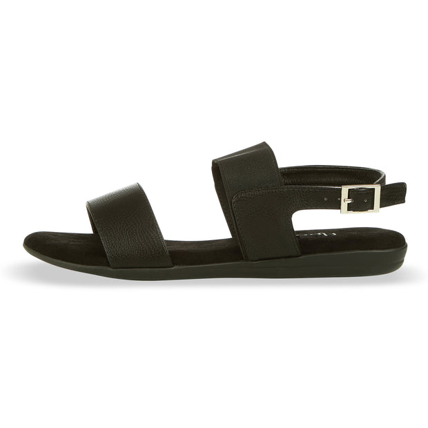 Womens Open Toe Elastic Buckle Ankle Strap Flat Sandals (Black)