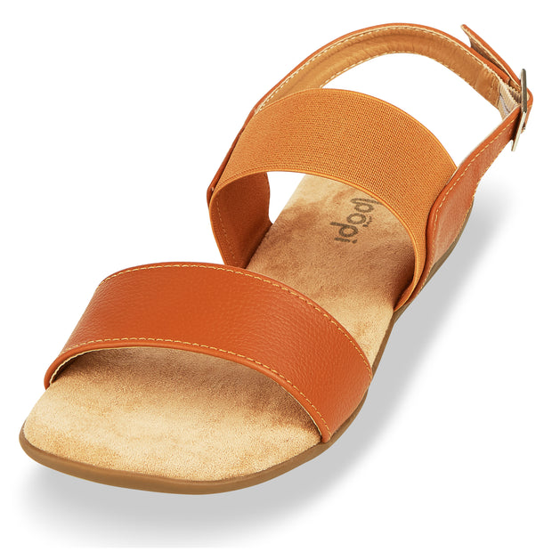 Womens Open Toe Elastic Buckle Ankle Strap Flat Sandals (Camel)