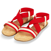 Womens Open Toe Elastic Ankle Strap Gladiator Flat Sandals (Red)