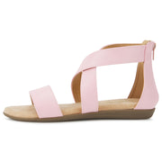 Womens Criss Cross Gladiator Ankle Strap Flat Sandal W/Back Zipper (Pink)