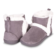 Floopi Womens Indoor Outdoor Bootie Slipper - Sherpa Fur Lined Clog W/Memory Foam (Grey)