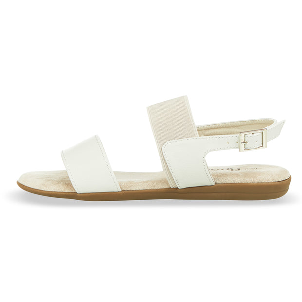 Womens Open Toe Elastic Buckle Ankle Strap Flat Sandals (Grey)