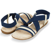 Womens Open Toe Elastic Ankle Strap Gladiator Flat Sandals (Navy)