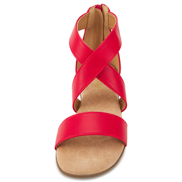 Womens Criss Cross Gladiator Ankle Strap Flat Sandal W/Back Zipper (Red)