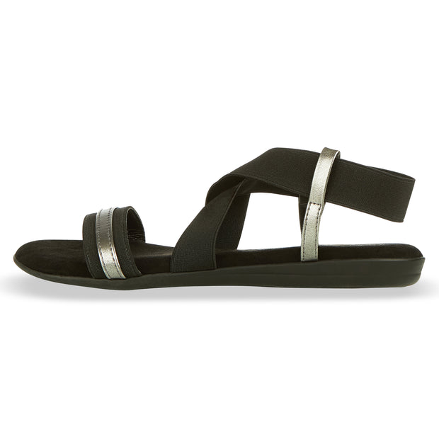 Womens Open Toe Elastic Ankle Strap Gladiator Flat Sandals (Black)