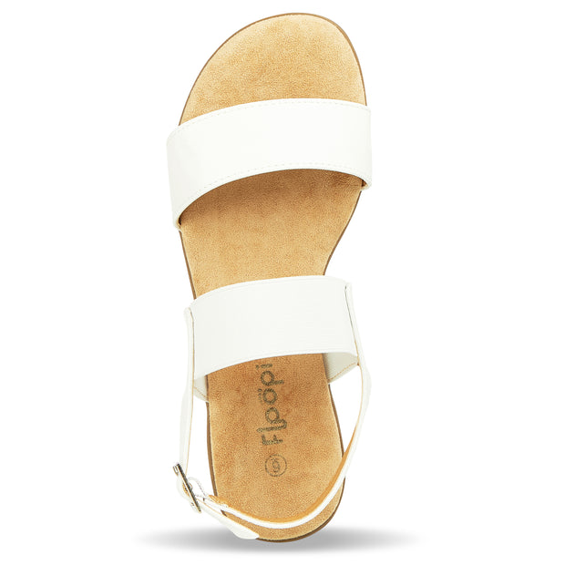 Womens Open Toe Elastic Buckle Ankle Strap Flat Sandals (White)