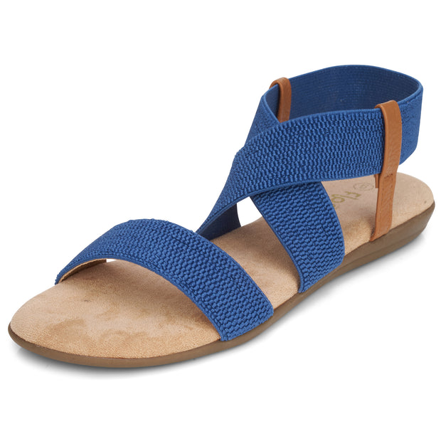 Womens Open Toe Elastic Ankle Strap Gladiator Flat Sandals (Blue)
