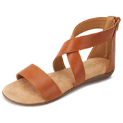 Womens Criss Cross Gladiator Ankle Strap Flat Sandal W/Back Zipper (Camel)