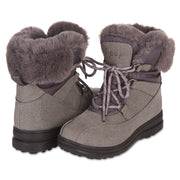 All Weather Winter Laced Boots For Women Mid-Calf Cut (Charcoal Grey)