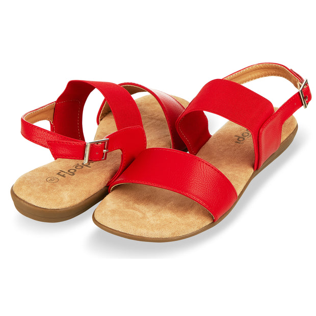 Womens Open Toe Elastic Buckle Ankle Strap Flat Sandals (Red)