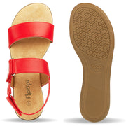 Womens Open Toe Adjustable Velcro Back Strap Flat Sandal (Red)