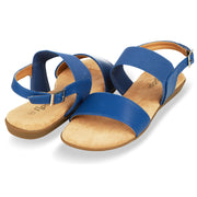 Womens Open Toe Elastic Buckle Ankle Strap Flat Sandals (Blue)