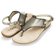 Womens Open Toe Gladiator Thong Buckle Ankle Strap Sandal (Pewter)