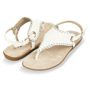 Womens Open Toe Gladiator Thong Buckle Ankle Strap Sandal (White)