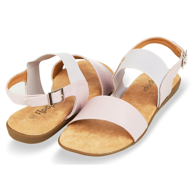 Womens Open Toe Elastic Buckle Ankle Strap Flat Sandals (Lavender)