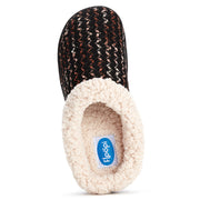 Women's Indoor/Outdoor Soft Metallic Ribbon Knit Off Faux Shearling Fur Clog Slipper W/Memory Foam (Black)