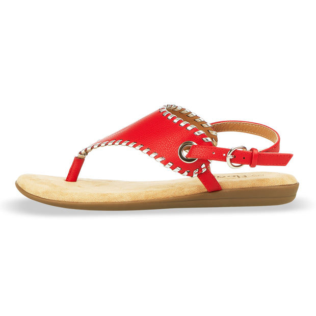 Womens Open Toe Gladiator Thong Buckle Ankle Strap Sandal (Red)