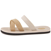 Womens Eva Comfort Criss Cross Sandals (Beige)