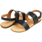Womens Open Toe Adjustable Velcro Back Strap Flat Sandal (Navy)
