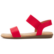 Womens Ankle Strap Wide Elastic Flat Sandal W/Memory Foam (Red)