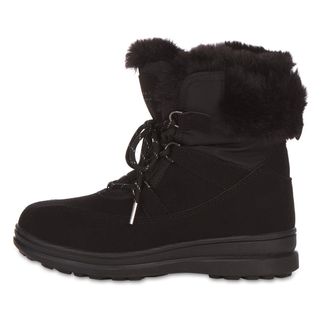 All Weather Winter Laced Boots For Women Mid-Calf Cut (Black)