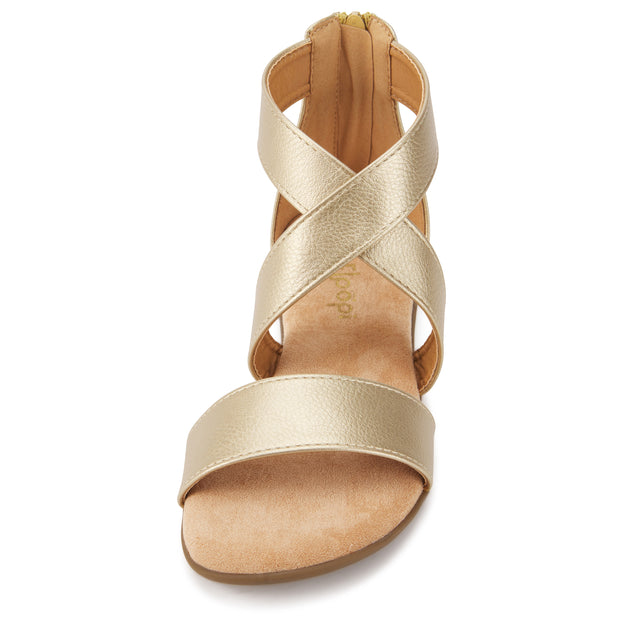 Womens Criss Cross Gladiator Ankle Strap Flat Sandal W/Back Zipper (Gold)