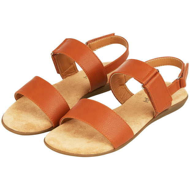 Womens Open Toe Adjustable Velcro Back Strap Flat Sandal (Camel)