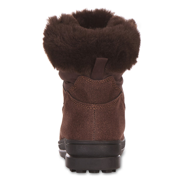 All Weather Winter Laced Boots For Women Mid-Calf Cut (Brown)