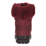 All Weather Winter Laced Boots For Women  Mid-Calf Cut (Burgundy)