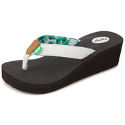 Womens Wedge Yoga Comfort Sponge Thong Flip Flop Sandals (White)