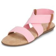 Womens Open Toe Elastic Ankle Strap Gladiator Flat Sandals (Pink)