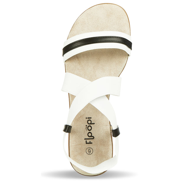 Womens Open Toe Elastic Ankle Strap Gladiator Flat Sandals (White)