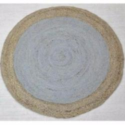 Jute Round Rug Light Grey & Natural