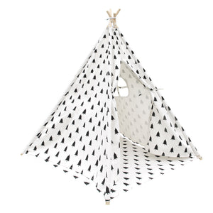 4 Poles Teepee Tent w/ Storage Bag Black White
