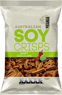 BULK 4 PACK Piranha Soy Crisps Sweet Chilli Flavour - 100g