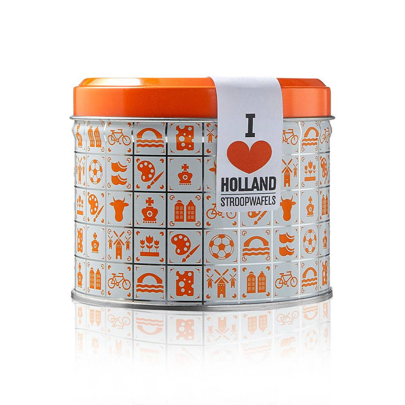 "8 Stroopwafels in a ""I Heart Holland"" Stroopwafel Dutch Orgain Tin by Daelmans - Snackhub Australia"