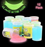Kicko Glow in The Dark Slime - 12 Pack Assorted Neon Colors - Green, Blue, Orange and Yellow for Kids, Party Favors, Goody Bag Filler, Birthday Gifts Non-Toxic