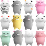 Outee Mochi Squishies Toys, 12 Pcs Squishies Cat Mochi Animals Mini Squishies Stress Relief Animals Squeeze Cat Toys Mochi Squeeze Squishies for Kids Adults
